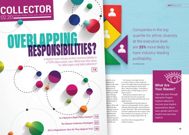 ACA Collector Magazine cover & article spread Feb. 2020