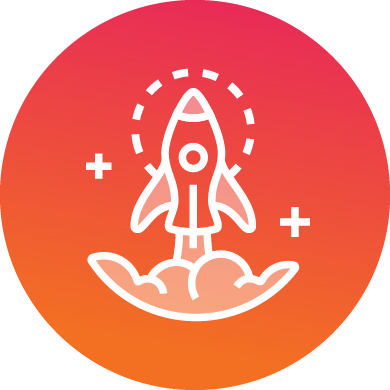 Media Kit - Invest in change icon showing rocket ship with positive symbols surrounding