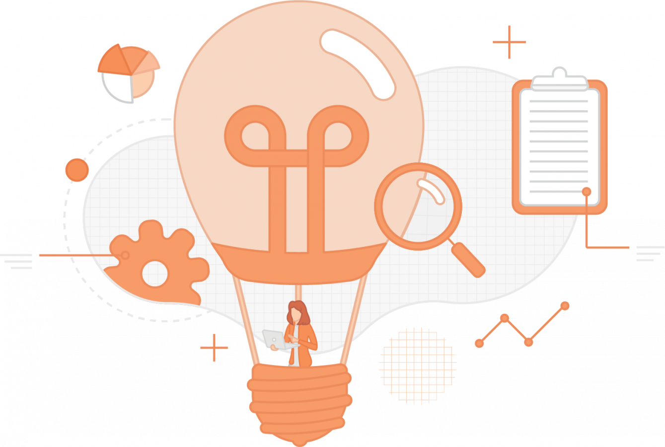 Custom e-learning collage – woman in a lightbulb shaped hot air balloon surrounded by graphs and data