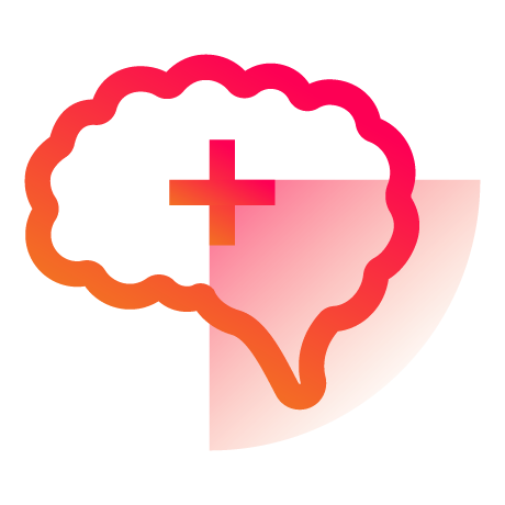 Making Space for Mental Health icon - brain with positive symbol