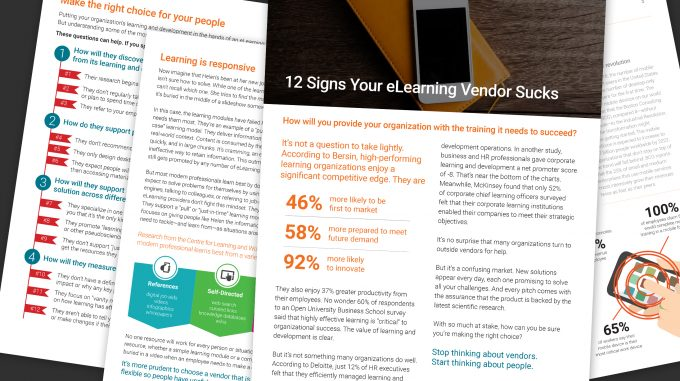 Collage of 12 Signs Your eLearning Vendor Sucks E-book Management Resource Pages
